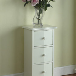 None - White Wood 3-drawer Cabinet Chest - Keep your home office neat and organized with this 3-drawer cabinet in beautiful cream white finish. Featuring a curved top and bottom with routed edge,the drawers have slanted fronts with turned knobs and  turned feet with protecters underneath.
