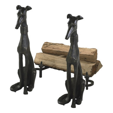 Cyan Design - Cyan Design Fireplace Dog Andirons, Set of 2 - These Cyan Design fireplace andirons set features two identical pieces for a seamless look. The slender bodies of the greyhound dogs add versatility to the set, allowing them to effortlessly compliment traditional or contemporary fireplace settings. Each dog also features a wide collar for added visual interest.