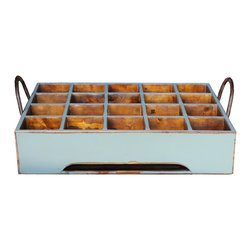Antique Revival - Aqua Henrietta Milk Crate - This handcrafted, distressed milk crate is a wonderful addition for any modern home. Great on coffee tables or dinner tables, these versatile pieces are not only beautiful to look at, but also practical to use with their many slots. It features two iron handles on the sides as well, making it easy to move around. Great for gifts as well!