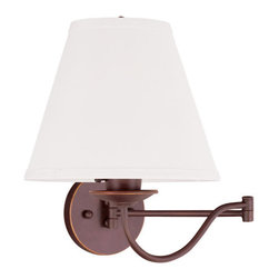 Livex Lighting - Livex Lighting 6471 Ridgedale Swing Arm Wall Sconce with 1 Light - Livex Lighting 6471 Ridgedale One Light Wall SconcePerfect for curling up with a good book, the Ridgedale single light swing arm wall sconce showcases a simple empire style hard back linen shade and a swan neck arm, making this light both classy and functional.Livex Lighting 6471 Features: