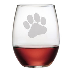Susquehanna Glass - Paw Print Stemless Wine Glass, 21oz, S/4 - Each 21 ounce stemless tumbler features a sand etched paw print design. Dishwasher safe. Sold as a set of four. Made and decorated in the USA.