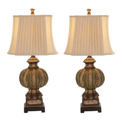 "ecWorld - Urban Designs Handcrafted Chateau Bordeaux 34"" Table Lamp - Set of 2 - Warm your living room or bedside with traditional style and softly filtered light. Traditional styling, channeling carved relief details of ancient architectural vines, makes these elegant table lamps a classic addition to your home decor."