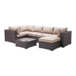 Zuo Modern - Zuo Modern Bocagrande 7 Piece Patio Sectional Set in Brown - Zuo Modern Bocagrande 7 Piece Patio Sectional Set in Brown