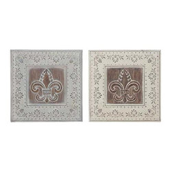 UMA - Enchanted Fleur de Lis Wall Plaques Set of 2 - A set of two wall plaques, each feature a fleur de lis at center surrounded by delicate vine and floral etchings in a distressed finish