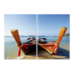 Baxton Studio - Baxton Studio Twin Prows Mounted Photography Print Diptych - Tethered to the shore but waiting for more, these twin vessels hold the promise of a peaceful journey on the water. This two-piece vinyl-printed photography wall art set is mounted on hollow MDF frames with notches on the back for hanging (mounting hardware is not included). Though the vinyl canvas is waterproof, we recommend wiping clean with a dry cloth. Made in China, the Twin Prows Modern Wall Art comes fully assembled and ready to hang.