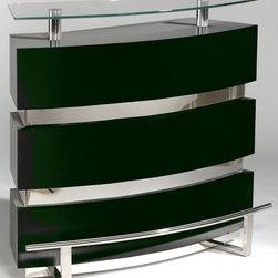 Chintaly Imports - Xenia Contemporary Glass Bar, Gloss Black - Xenia Contemporary Glass Bar, Gloss Black
