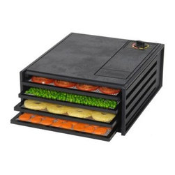 Excalibur 2400 4 Tray Starter Series Food Dehydrator - They may call the Excalibur 2400 4 Tray Starter Series Food Dehydrator a starter unit, but it dehydrates as well as the bigger models and it's made of the same sturdy construction. Make everything from fruit leathers and jerky to dried flowers. This no-frills model is more compact and easier to use. Polycarbonate construction on the 2000 series is almost indestructible, and the four square trays are dishwasher-safe. A plexiglass door lets you check food drying at a glance. Each tray is independently removable, so you can check dryness without disturbing the other trays. The adjustable thermostat goes from 85-145°F, a range appropriate from fruit to jerky. Horizontal airflow is more even and doesn't mix food aromas, so you can dry meats and fruits in the same batch. Dimensions: 13W x 16.25D x 6.5H inches. A handy 28-page dehydrating guide with recipes is included, so you'll get off to a great start. The Excalibur has a 5-year warranty.About Killer Baits Inc. / ExcaliburLocated in Sacramento, California, Killer Baits Inc. created the famous Excalibur line of dehydrators, which spans from quality home dryers to giant commercial units, all dedicated to no-fluff quality. Excalibur dehydrators have distinctive features such as horizontal air flow, which results in more even, cleaner dehydrating, and square trays that hold more items to dry. For home and business, Excalibur is the cutting edge of quality dehydrators.