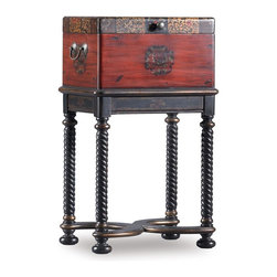 Hooker Furniture - Seven Seas Storage Box on Stand - Traditional style. Turned legs. Robust leather. Made from hardwood solids and veneers. Dynasty finish. Bottom of box to stretcher height: 13.25 in.. Inside: 13.63 in. W x 7.63 in. D x 8.88 in. H. Overall: 16 in. W x 12 in. D x 27 in. HVisions of adventures and the lure of history come together in this distinctive box on stand with antique Asian influences.