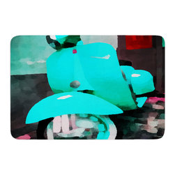 "KESS InHouse - Oriana Cordero ""Vespa I"" Teal Blue Memory Foam Bath Mat (24"" x 36"") - These super absorbent bath mats will add comfort and style to your bathroom. These memory foam mats will feel like you are in a spa every time you step out of the shower. Available in two sizes, 17"" x 24"" and 24"" x 36"", with a .5"" thickness and non skid backing, these will fit every style of bathroom. Add comfort like never before in front of your vanity, sink, bathtub, shower or even laundry room. Machine wash cold, gentle cycle, tumble dry low or lay flat to dry. Printed on single side."