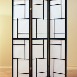 Monarch - 3 Panel Screen in Black Wood Framed - This three panel folding screen can be used as a room divider to enhance the ambiance and add a touch of flair. With its black, solid wood frame and geometric motif, this chic design will be an amazing accent for your home.