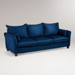 Midnight Blue Microsuede Luxe 3-Seat Sofa Slipcover - This velvety blue sofa is from World Market at a dorm room price. It's not a forever piece, but it will let you experience a colored sofa at a comfortable price range.
