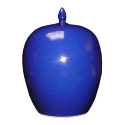 Golden Lotus - Simple Plain Navy Blue Glaze Porcelain Vase Jar - This is a clean simple porcelain jar glazed with plain navy blue color.