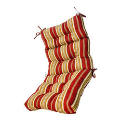 None - 44x22-inch 3-section Outdoor  Roma Stripe High Back Chair Cushion - Color: Red/tanMaterials: 100-percent polyester Fill: Poly-fill material
