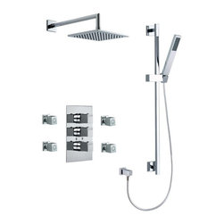Ramon Soler - Wall Mounted Brass 5 Piece Shower Set With Tub Spout and Body Spray In Chrome Fi - Made in brass and finished with chrome.
