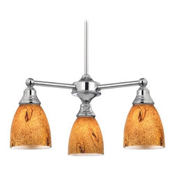 Design Classics Lighting - Mini-Chandelier with Brown Art Glass in Chrome Finish - 598-26 GL1001MB - Transitional chrome 3-light chandelier. Takes (3) 100-watt incandescent A19 bulb(s). Bulb(s) sold separately. UL listed. Dry location rated.