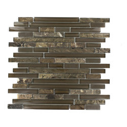 "Tao Wild Mustang - TAO WILD MUSTANG GLASS TILE The mixture of glass and stone creates a sleek and attractive design or any room. The combination of the blend of polished and frosted glass in brown and the dark emperidor creates a beautiful modern and contemporary backdrop. The mesh backing not only simplifies installation, it also allows the tiles to be separated which adds to their design flexibility. Chip Size: 1/2"" x Random Color: Brown and Dark Emperidor Materials: Emperidor and Glass Finish: Polished and Frosted Sold by the Sheet - each sheet measures 12""x12"" (1 sq. ft.) Thickness: 8mm - Glass Tiles -"