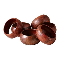 Native Trails - Copper Napkin Rings (Set of 6) - These round napkin rings run circles around the others. They're made by artisans of 100% recycled copper that's been hand hammered for one-of-a-kind character. Add them to your place settings to give guests a warm welcome.
