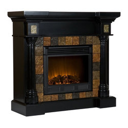 """Holly & Martin - Holly & Martin Convertible Electric Fireplace-Black X-10-0-320-152-73 - Dark earth toned, slate style tiles surround the firebox on this black electric fireplace mantel to create a look that is unbeatable. Rounded columns on either side of the firebox are accentuated by the arched tile pattern, adding cohesion to the design. This versatile fireplace is complete with a collapsible panel, making it easy to place against a flat wall or in a corner. The firebox has realistic, multicolor flickering flames and glowing embers with an interior brick design for a more lifelike look. This electric fireplace features energy efficient LED and requires no professional installation, making it a cost effective way to upgrade your living or media room. Easy to use remote control offers 4-way adjustability to warm the room conveniently. Safety features include automatic shutoff and glass that remains cool to the touch. Turn off the heat to enjoy the fireplace ambience year round! - FEATURES: - Accommodates a flat panel TV up to 42.5"""" W overall - Columns feature wood grain characteristics and minimal wormholes - Sleek black finish with dark earth toned tiles - PRODUCT SPECIFICATIONS: - Approx. weight: 128 lb. - Supports up to: 85 lb. (mantel) - Materials: poplar, MDF, resin, metal, glass - Assembly required - Overall: 44.5"""" W x 16.75"""" D x 40.25"""" H (flat), 44.5"""" W x 27.75"""" D x 40.25"""" H (corner) - FIREBOX: - Lifelike multicolor flames and burning logs with embers - Remote control adjusts thermostat, timer, logs, and flames separately with ease - Supplemental heat for up to 400 square feet - Classic brick style interior and optional down light illumination - Safe, self-regulating heater turns off when desired temperature is met - Conveniently plugs into standard wall outlet with 6' cord - Long life, energy efficient LED bulbs - Glass remains cool to the touch - Use without heater for year round enjoyment - Once powered off, logs and flames slowly turn down - Firebox fro"""