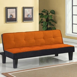 "Acme - Hamar Orange Microfiber Fabric Small Space Apartment Sofa Futon Bed - Hamar orange microfiber fabric upholstered small space apartment size adjustable sofa futon bed with dark finish legs. This set features a microfiber fabric upholstery and a folding back to lay flat to convert to a sleep area. Measures when flat 66"" x 34"" x 15""H. Measures when upright 66"" x 29"" x 28""H. Some assembly required."