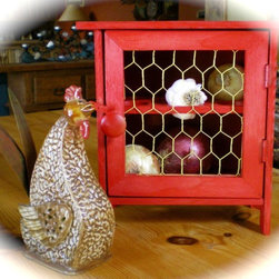"Farmhouse Chicken Coop Food Storage Bin By TheBeadCougar - I just love how this handmade ""chicken coop"" was crafted as a food storage bin — all too charming for that country kitchen feel."