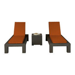 Forever Patio - Hampton 3 Piece Modern Chaise Lounge Set, Chocolate Wicker and Rust Cushions - The Forever Patio Hampton 3 Piece Wicker Outdoor Chaise Lounge Set with Burnt Orange Sunbrella cushions (SKU FP-HAM-3CLS-CH-CR) makes for a great addition to the poolside or wherever you desire stylish outdoor lounging. The set seats 2 adults comfortably, and includes 2 chaise lounges and an end table with a glass top. This set features Chocolate resin wicker, which is made from High-Density Polyethylene (HDPE) for outdoor use. Every strand of this outdoor wicker is infused with the rich color and UV-inhibitors that prevent cracking, chipping and fading ordinarily caused by sunlight, surpassing the quality of rattan. Each piece features thick-gauged, powder-coated aluminum frames that make the set extremely durable and resistant to corrosion. Also included with this patio chaise lounge set are cushions covered in fade- and mildew-resistant Sunbrella fabric, available in a wide selection of colors. With its comfort and quality, it is hard not to love this patio chaise lounge set.