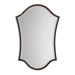 "Uttermost - Uttermost Abra, Vanity Mirror - This shapely, beveled mirror features a narrow frame finished in lightly distressed bronze with burnished details. Mirror has a generous 1 1/4"" bevel."