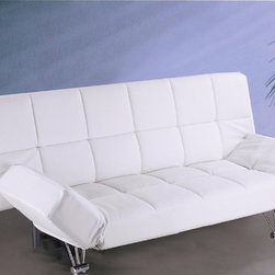 J&M Furniture - J&M Furniture Venus Sofa Bed in White Vinyl - J&M presents Modern Sofa Beds and Contemporary day beds. Modern daybeds look stylish and can be used as an extra bed if required. From leather sofa .You can choose from different sleeper sofa styles that suit your interiors and match your taste. Our collection includes a vast range of sofa beds  day beds and modern sleepers beds in different colors  materials and designs.These sofa beds are easy to convert and give you proper comfort and relaxation.The arms are adjustable so you can fix them according to your comfort and need.