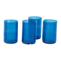 Wine Bottle Tumblers - I would use these recycled wine bottle tumblers as water glasses or vases.