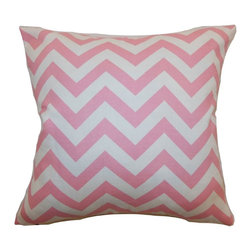 """The Pillow Collection - Xayabury Zigzag Pillow Baby Pink 20"""" x 20"""" - Versatile and pretty, this zigzag pillow adds a dose of modern twist to your space. This accent pillow features a distinct zigzag print pattern in baby pink and white hue. This decor pillow is made from 100% high-quality cotton fabric. The square pillow provides a playful contrast to your interiors. Pair this 20"""" pillow with solids to complement this throw pillow. Hidden zipper closure for easy cover removal.  Knife edge finish on all four sides.  Reversible pillow with the same fabric on the back side.  Spot cleaning suggested."""