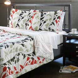 Grace Red King-size 3-piece Duvet Cover Set -