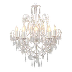 The Gallery - White Wrought Iron Crystal chandelier Lighting - 100% crystalrought iron chandelier. A great European tradition. Nothing is quite as elegant as the fine crystal chandeliers that gave sparkle to brilliant evenings at palaces and manor houses across Europe. This beautiful chandelier from the Versailles collection has 5 lights and is decorated and draped with 100% crystal that captures and reflects the light of the candle bulbs. The frame is wrought iron, adding the finishing touch to a wonderful fixture. The timeless elegance of this chandelier is sure to lend a special atmosphere anywhere its placed!