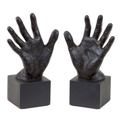 Hold 'em Up! Bookend - Set of 2 - Artistic and industrially modern, the Hold 'em Up! Bookends are made from resin and can hold their own any style of office. They give a helping hand when you need one: surround your favorite books or adorn your office with flair.