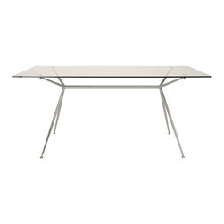 "Euro Style - Atos Table 66"" - Clear Glass/Chrome - A completely modern take on sawhorse basics, Atos combines a delicate appearance with a solid base made of chromed steel. The tempered glass top is available in widths of 5 or 5.5 feet (60"" Small or 66"" Large)  depending on how much work you have to do!"
