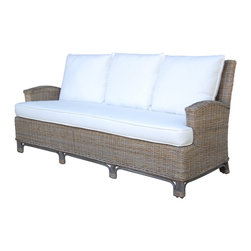 Panama Jack - Panama Jack Exuma Sofa with Cushions - The Panama Jack Exuma sunroom sofa is a unique wicker seating solution that is hand woven over rattan frames. This Exuma lounge seat is finished with the timeless kubu grey and offers a casual and relaxed feel to your home.