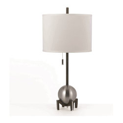 Horizons - Horizons Gravity Transitional Table Lamp X-LT-2528 - This AF Lighting table lamp from the Gravity Collection draws the eye in with a stunning Silver finish that accentuates the orb accent. Situated on a clean footed base and paired with a straight neck, this transitional table lamp is completed with a matching white poly linen hard back drum shade.