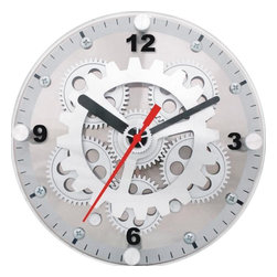 """Maple's Clocks - Moving-Gear Dual Use Wall & Desktop Clock - Moving gears. Dual use as table/wall clock. Red second hand. 6"""" Diameter front glass. No assembly needed. 2 in. W x 6 in. L x 6 in. HThis table or wall clock features visible moving gears.  The plastic body is faced with a brushed aluminum dial and has a mix of brushed aluminum and silver plastic gears along with a red second hand.  A plate glass cover is mounted on the front and has numbers every quarter hour.  The clock is 6 inches in diameter and 2 inches deep.  Precision timing is kept with quartz crystal.  The clock is powered by 2 C batteries (not included) and includes a 1 year limited warranty."""