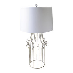 Gilded Nola - Stella Silver Table Lamp - Stella Table Lamp features a metal frame, finished in Glazed Silver and detailed with small crystal glass spheres. Its shade is made with white linen.