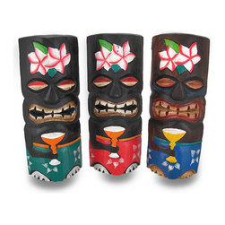 Zeckos - Set of 3 Hand Carved Wooden Hibiscus Tiki Masks 11 Inch - These incredibly realistic tiki masks will add the perfect touch in any Polynesian themed room or tiki bar Each mask is handcrafted by artisans in Indonesia of Albesia wood, which is lightweight and easily replenished. They measure 11 inches tall, 4 1/2 inches wide, and 2 1/2 inches deep. The masks feature a carved and painted hibiscus flower on the foreheads, and are painted wearing Hawaiian shirts and carrying tropical drinks, adding a fun accent wherever they are displayed. They easily mount to the wall with just one nail or picture hanger, and are sure to be admired by all