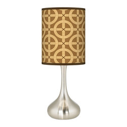 "Tobi Fairley - Contemporary Tobi Fairley Bamboo Trellis Table Lamp - Giclee Kiss Table Lamp design. Brushed steel finish. Custom printed giclee shade. Exclusive Bamboo Trellis pattern. Pattern by interior designer Tobi Fairley. In-line on/off switch. U.S. Patent # 7347593. 24 1/2"" high. Shade is 9 1/2"" wide 11 3/4"" high. 7 1/2"" wide base.  Giclee Kiss Table Lamp design.  Brushed steel finish.  Custom printed giclee shade.  Exclusive Bamboo Trellis pattern.  Pattern by interior designer Tobi Fairley.  In-line on/off switch.  U.S. Patent # 7346593/  Uno style shade.  23"" high.  Shade is 9 1/2"" wide 11 3/4"" high.  7 1/2"" wide base."