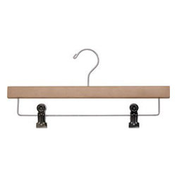 "14"" Wood Pant/Skirt hanger with shiny chrome hooks and cushion inserted clips - Box of 100 hangers."