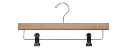"""14"""" Wood Pant/Skirt hanger with shiny chrome hooks and cushion inserted clips - Box of 100 hangers."""