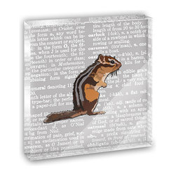 """Made on Terra - Standing Chipmunk Profile Mini Desk Plaque and Paperweight - You glance over at your miniature acrylic plaque and your spirits are instantly lifted. It's just too cute! From it's petite size to the unique design, it's the perfect punctuation for your shelf or desk, depending on where you want to place it at that moment. At this moment, it's standing up on its own, but you know it also looks great flat on a desk as a paper weight. Choose from Made on Terra's many wonderful acrylic decorations. Measures approximately 4"""" width x 4"""" in length x 1/2"""" in depth. Made of acrylic. Artwork is printed on the back for a cool effect. Self-standing."""