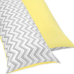 Sweet Jojo Designs - Sweet JoJo Designs Yellow and Grey Zig Zag Full Length Double Zippered Body Pill - Protect your pillow's fabric cover with this cotton body pillow cover. It has two zippers for easy removal, and it is made of soft cotton with a twill weave. The cover has a bold zigzag pattern on one side and is solid yellow on the other side.