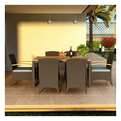 Arbor 7-Piece Modern Outdoor Dining Set, Spa Cushions