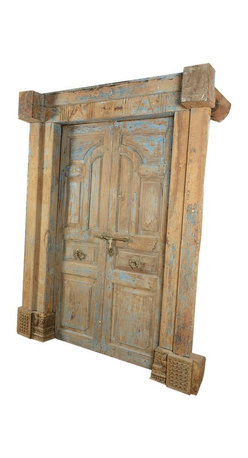 Sierra Living Concepts - 100% Hand Crafted and Carved Paneled Antique Style Door - This extremely well made, 100% hand crafted antique style Indian door is in excellent condition. This antique style door will serve its original purpose as a provider of security and beauty for many years to come.