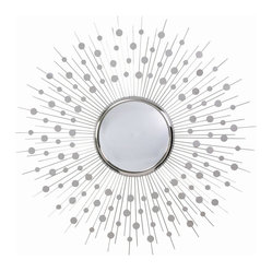 Arteriors - Orion Mirror - Crank up the hi-fi. Stir the pitcher of martinis. Lounge on your Eames chair, beneath this retro-inspired piece of art for your walls. From the center, a convex mirror radiates a burst of spokes and constellation-like dots, bringing to life a midcentury modern vibe to your room.