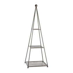 Arteriors - Arteriors Home - Forbes Etagere - 4070 - Perforated metal shelves with natural iron frame and finial. Perfect for plants or use on a table top for serving.