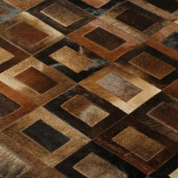 "Yerra - Doppio Cowhide Patchwork Rug - This modern cowhide rug consists of 6"" x 8"" rectangular pieces with 3"" x 5"" smaller pieces inside, all are sewn together with zip zag stitching. Taking into account the natural variations of the hides, the pieces are cut and combined in a great variety of patterns to create the overall quilted look."