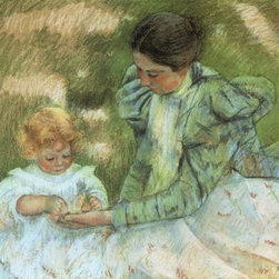 Mother Playing With Her Child 1897 17.6 x 22 Art Print On Canvas - Mother Playing With Her Child 1897 by Mary Cassatt Size: 17.6 x 22 Art Print Poster. Canvas Transfer stretched and canvas museum wrap. Comes ready to hang. After placing your order, using the Houzz messaging tool, you can choose from the following colors for the sides of the canvas: White, Black, Antique White, Realist Beige, Whole Wheat, Cobble Brown, or Turkish Coffee. If no response, then the default of off white color is used which usually looks great.