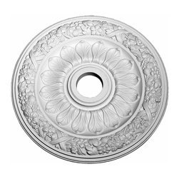 Renovators Supply - Ceiling Medallions White Urethane Ceiling Medallion 24'' Dia | 11795 - Ceiling Medallions: Made of virtually indestructible high-density urethane our medallions are cast from steel molds making them the highest quality on the market. Steel molds provide a higher quality result for pattern consistency- design clarity & overall strength & durability. Lightweight they are easily installed with no special skills. Unlike plaster or wood urethane is resistant to cracking- warping or peeling. Factory-primed these medallions are ready for finishing. NOTE: Images medallions with a center opening may not be represented to scale- appearing larger or smaller than they actually are. Measures 24 inch in diameter with 3 7/8 inch center hole.